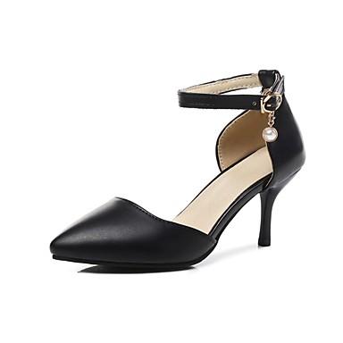 Pentru femei Pantofi PU Primavara vara D'Orsay & Două Bucăți Tocuri Toc Stilat Vârf ascuțit Negru / Migdală