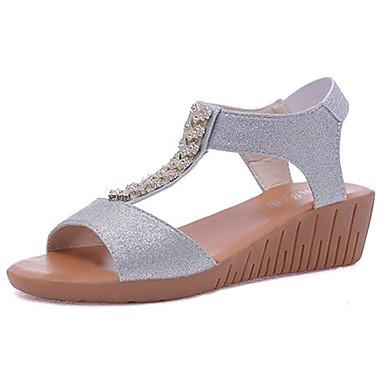 Pentru femei Pantofi PU Vară Pantof cu Berete Sandale Toc Platformă Auriu / Argintiu