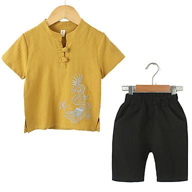 Copii Unisex Vintage / Chinoiserie Ieșire Mată / Jacquard Brodat Manșon scurt Bumbac / In Set Îmbrăcăminte
