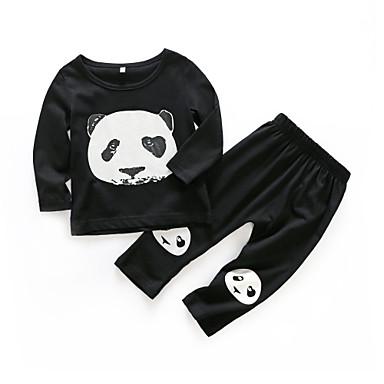 Bebelus Băieți Casual Zilnic Imprimeu Manșon Lung Regular Bumbac Set Îmbrăcăminte Negru 100 / Copil