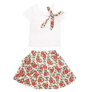 Copii Fete De Bază / Sofisticat Ieșire Floral Funde / Imprimeu Manșon scurt Bumbac Set Îmbrăcăminte