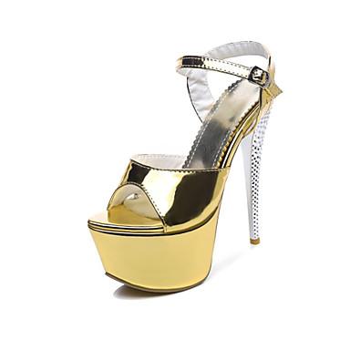 Pentru femei Pantofi Imitație Piele Primavara vara Balerini Basic Sandale Toc Stilat Pantofi vârf deschis Auriu / Mov Deschis / Argintiu