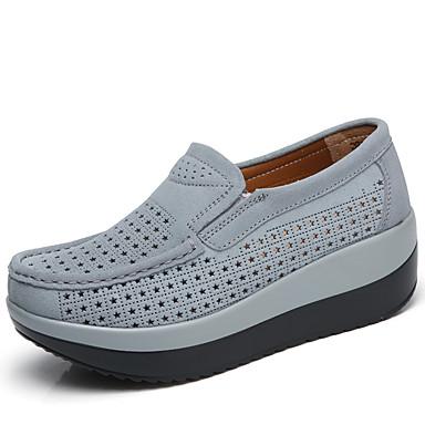Pentru femei Pantofi Piele de Căprioară Primavara vara Confortabili Mocasini & Balerini Încălțăminte de Swing Creepers Gri / Rosu /