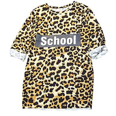 Copii Fete Dulce Zilnic / Concediu Leopard Imprimeu Manșon scurt Lungime Genunchi Bumbac / Poliester Rochie Maro 120