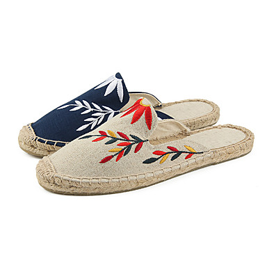 Bleu 06756721 Plat Printemps Sabot Chaussures Lin Femme Confort Talon de Beige minuit Mules amp; qOTpvw