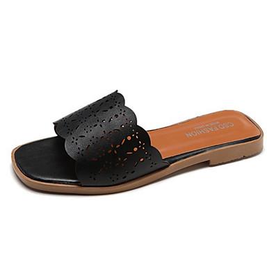 Pentru femei PU Vară Confortabili Papuci & Flip-flops Toc Drept Vârf rotund Negru / Bej