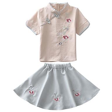 Copii Fete De Bază Zilnic Jacquard Brodat Fără manșon Regular Regular Bumbac / Poliester Set Îmbrăcăminte Alb 110