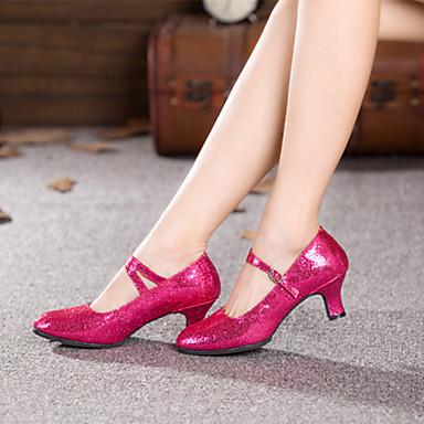 baratos Shall We® Sapatos de Dança-Mulheres Sintéticos Sapatos de Dança Moderna Lantejoula Salto Salto Cubano Personalizável Fúcsia / Vermelho / Azul / Espetáculo