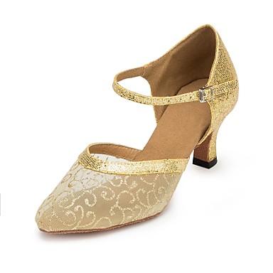 Femme Chaussures Modernes Modernes Modernes Maille   Talon Cubain Chaussures de danse Or 78b91c