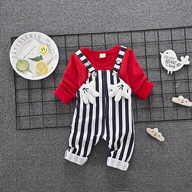 Bebelus Unisex Negru & Roșu Mată / Geometric Manșon scurt Set Îmbrăcăminte