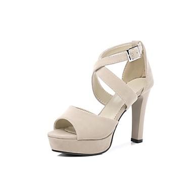 Pentru femei Pantofi PU Primavara vara Gladiator Sandale Toc Îndesat Vârf deschis Piatră Semiprețioasă Negru / Bej / Party & Seară