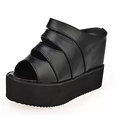 Pentru femei Sandale Platformă PU Vară Pantof cu Berete Sandale Toc Platformă Pantofi vârf deschis Alb / Negru / Party & Seară / Party & Seară
