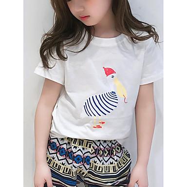 Copii Fete Flamingos Mată / Imprimeu Manșon scurt Tricou
