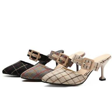 les chaussures de femme kaka (polyuréthane) le confort d'été des petit sabots et mules petit des talon orteil noir et beige - gris c8888d