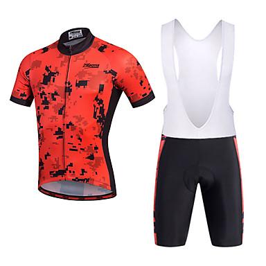 21Grams Hombre Manga Corta Maillot de Ciclismo con Shorts Bib - Negro Bicicleta Shorts / Malla corta / Petos de deporte / Culotte con tirantes / Camiseta / Maillot, Almohadilla 3D, Secado rápido