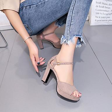Zapatos abierta Negro Marrón Punta el en PU Verano Tacón Cuadrado Tobillo Mujer Aterciopelado Sandalias 06728288 Tira S7dnqA