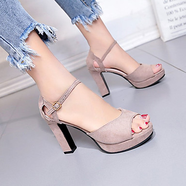Tacón Sandalias Negro Marrón 06728288 PU Punta en Zapatos Verano Cuadrado Tira Aterciopelado el Tobillo Mujer abierta SqzaWCwx