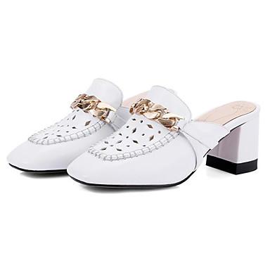 des chaussures en cuir summer sandale sabots sabots sabots et nappa mules chunky talon bouts carrés blanc / rose e9971d