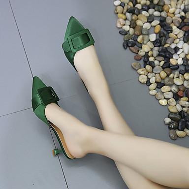 Talón Descubierto Tacón y Kitten Zuecos Dedo Mujer Satén Puntiagudo Zapatos Negro Almendra PU Verano pantuflas 06734677 Verde zwqxXI40