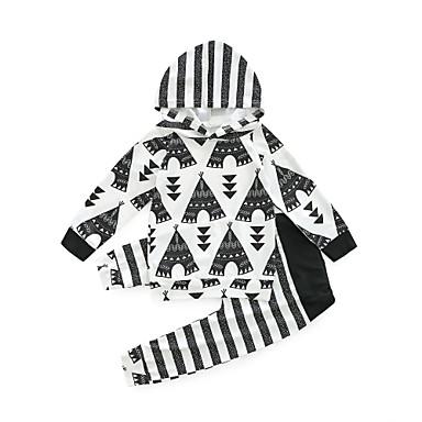 Bebelus Fete Activ Zilnic / Ieșire Imprimeu Manșon Lung Regular Poliester Set Îmbrăcăminte Negru 100 / Copil
