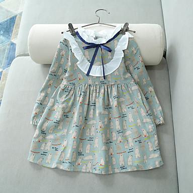 Χαμηλού Κόστους Φορέματα για κορίτσια-Παιδιά Νήπιο Κοριτσίστικα Βασικό Γλυκός Καθημερινά Εξόδου Γεωμετρικό Με Κορδόνια Στάμπα Μακρυμάνικο Βαμβάκι Πολυεστέρας Φόρεμα Πράσινο του τριφυλλιού