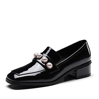 Mocassins Chaussures Perle 06769704 Noir Nappa Rouge été Femme Chaussons Cuir Bout Confort et Imitation Printemps Talon D6148 carré Bottier YWqxWdwnC