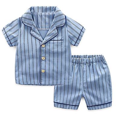 954c852703630 Çocuklar Genç Erkek Temel Günlük Çizgili Desen Kısa Kollu Normal Pamuklu Polyester  Kıyafet Seti Havuz