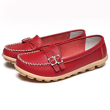 taco Dedo de 06765920 Primavera Cuero Plano Slip Zapatos Tacón Zapatos redondo Mujer Mocasín Wine On Marrón Verano Caqui y bajo Hebilla f066Yq