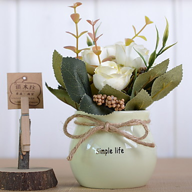Artificial Flowers 1 Branch Classic Rustic / Modern Roses Tabletop Flower