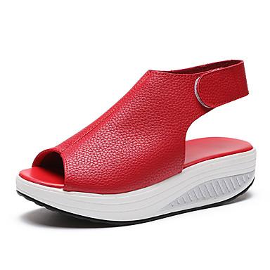 Dame Novelty Shoes PU Sommer Komfort / Originale Sandaler Gang Platform Kigge Tå Beige / Rød / Mørkebrun