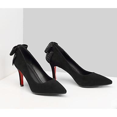 Chaussures à Talon Escarpin 06770249 Cuir Noeud Printemps Noir pointu Rouge Chaussures Femme Nappa Soirée Daim Aiguille Evénement Talons amp; Basique Bout pwq8gdg