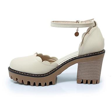 Bottier Basique Printemps Talons à été Bout rond Escarpin Talon Polyuréthane Chaussures 06770269 Blanc Chaussures Beige Femme Rose Xq8Bvw