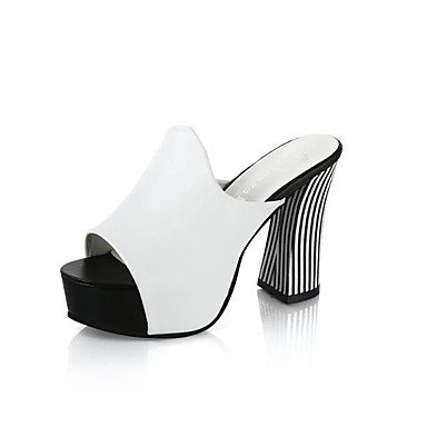 Mujer Blanco PU 06766486 Cuadrado Rojo Sandalias Confort Verano Tacón Zapatos Negro FUrfF4