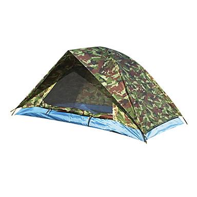 2 Personas Doble Capa Palo Domótica Carpa para camping Una Habitación  Al aire libre Resistente al Viento <1000 mm  para Pesca Fibra de Vidrio 200*140*110 cm / Impermeable / Impermeable