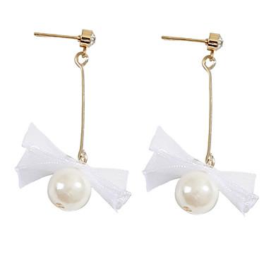 levne Dámské šperky-Dámské Náušnice Dlouhé Motýlek Jednoduchý korejština Módní Napodobenina perel Krajka Náušnice Šperky Bílá Pro Denní 1 Pair