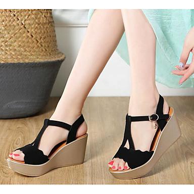 06777158 Chaussures Sandales ouvert Beige Cuir Salomé Bout compensée Hauteur de côté sur Printemps Noir le Femme semelle été Faux Drapée wHfwdY