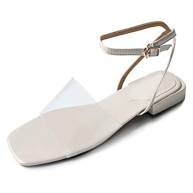 Women's Shoes Heel PU(Polyurethane) Summer Comfort Sandals Low Heel Shoes Beige / Blue 9c0244