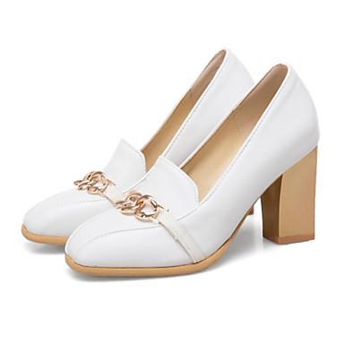 hiver Automne à Bottier Talons Chaussures Blanc Talon Botillons carré Bout Femme Noir Chaussures Polyuréthane Rivet Basique Escarpin 06795931 wqR4P8tE