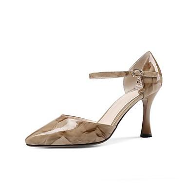 Žene Cipele Mekana koža Proljeće ljeto Udobne cipele Cipele na petu Stiletto potpetica Krakova Toe Kopča Sive boje / Crvena / Badem
