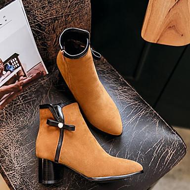 hiver Bottier Femme Talon Noir Bottes Daim Demi Automne Botillons Bout pointu Chaussures Jaune Bottine 06837116 Botte YttxH0