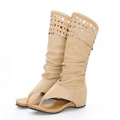 Žene Cipele PU Proljeće Modne čizme Čizme Ravna potpetica Otvoreno toe Čizme do pola lista Bež / Žutomrk