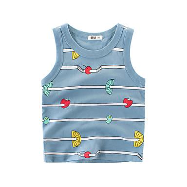 baratos Camisas para Meninos-Infantil Para Meninos Básico Diário Listrado Sem Manga Padrão Algodão Camiseta Cinzento