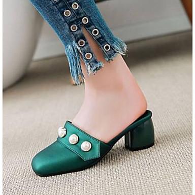 Mujer Sandalias 06775091 Tacón Confort Azul PU Verano Negro Zapatos Cuadrado Verde rqIAr