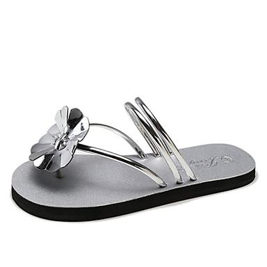 Žene PU Ljeto Udobne cipele Sandale Ravna potpetica Otvoreno toe Obala / Crn / Pink