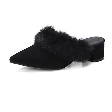 Confort Gris Talon de Bottier mouton foncé Printemps Mules Sabot Chaussures Femme Peau 06785360 Noir amp; Automne YOpvn