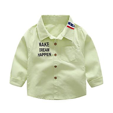 رخيصةأون كنزات الأولاد-قميص قطن كم طويل لون سادة مدرسة رياضي Active / أساسي للصبيان أطفال