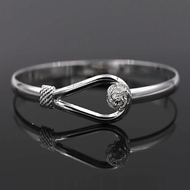 abordables Bracelet-Bracelet Jonc Femme Argent sterling Fleur dames Bracelet Bijoux Argent pour Mariage Soirée Quotidien Décontracté