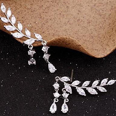 Pentru femei Zirconiu Cubic Franjuri Cercei Stud Cățărătorii de urechi - Leaf Shape Simplu, Ciucure Auriu / Argintiu Pentru Petrecere Cadou Zilnic