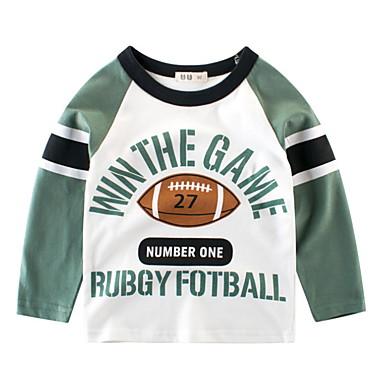 baratos Camisas para Meninos-Infantil Para Meninos Básico Diário Geométrica Estampado Manga Longa Padrão Algodão Camiseta Verde