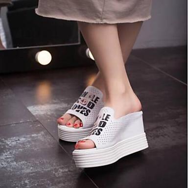 Noir Chaussures 06791435 Nouveauté Cuir Blanc Eté Sandales Nappa Creepers Femme Fx86qf44